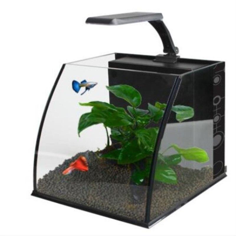 Mini-home pequeña sala de estar de vidrio creativo escritorio ecológico acuario perezoso peces de oro tortuga tanques