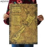 Affiche papier Kraft carte mysterieuse de la nouvelle-zelande  decoration de maison  peinture murale  autocollant