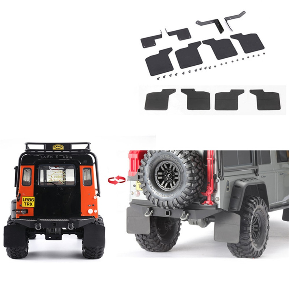 Rubber Front & Rear Mud Fender Mudguard with Metal Stand for 1/10 TRAXXAS TRX4 Defender D110 RC Car Parts Accessories
