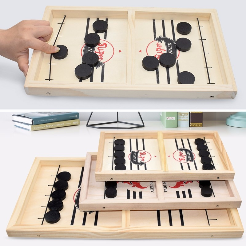 Fast Sling Puck Game Paced Wooden Table Hockey Winner Games Interactive Chess Toys For  Children Desktop Battle Board Game