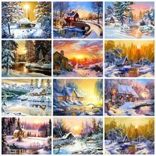 5D Diamond Painting Full Drill Square Sunset Landscape DIY Diamond Art Embroidery Winter Scene Home Decoration