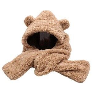 hot selling winter hat 2 in 1 women  keep warm ear protection bomber scarf  hat cute bear model for young girl street wear