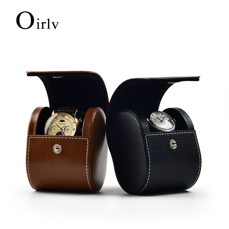 Oirlv New PU Leather Watch Storage Gift Box with Velvet Insert Brown/Black Portable Watch Bag Travel Watch Organizer with Button