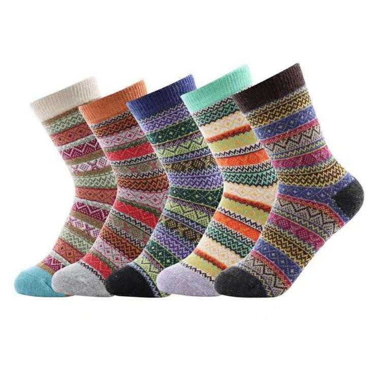 5pairs/Lot Winter New Winter Warm Thicken National Wind Wool Socks Women Medium Tube Rabbit Wool Crew Socks Calcetines Mujer
