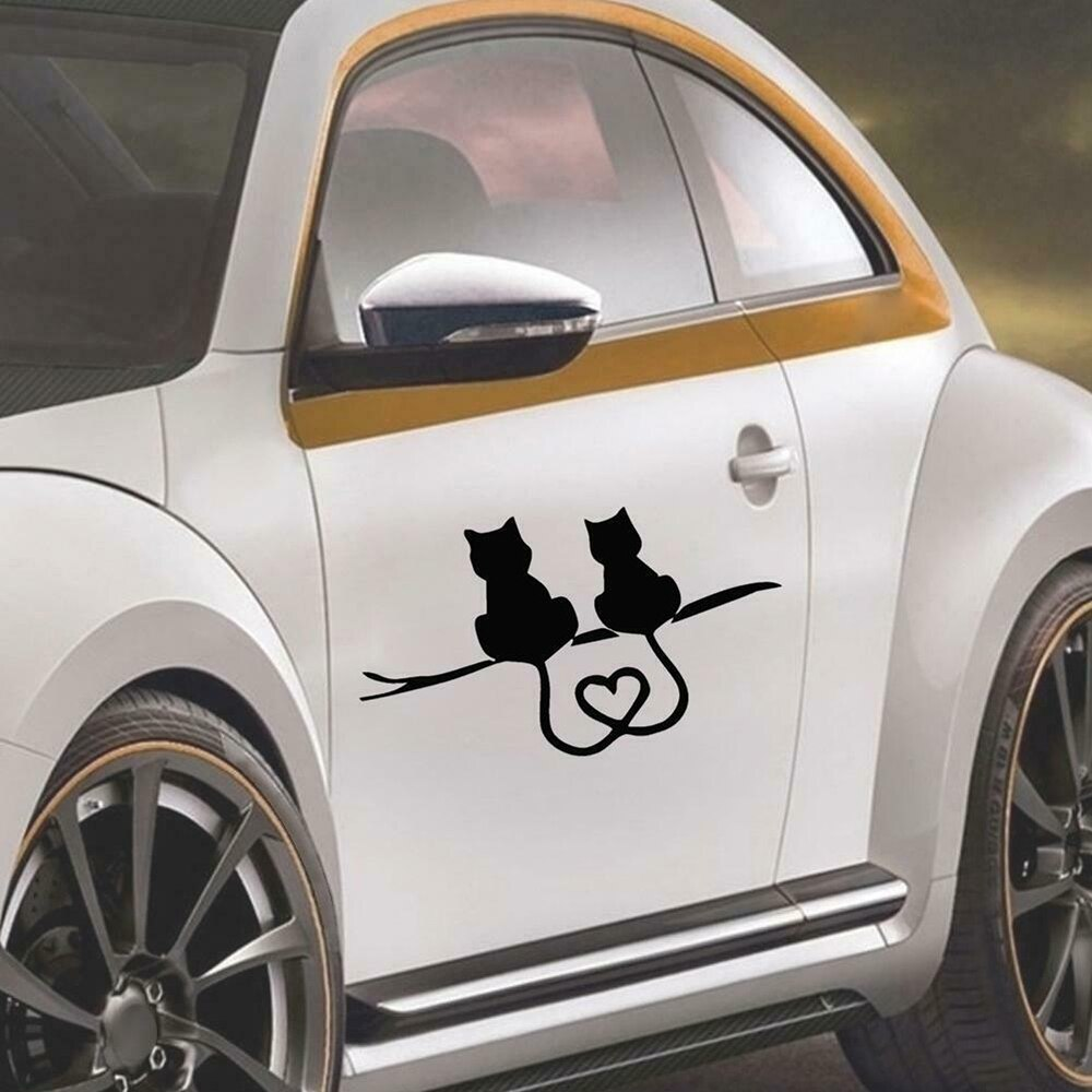 scratch Stickers Car Styling animal Cartoon Funny Two Kittens LOVE Cat caring Car Reflective door