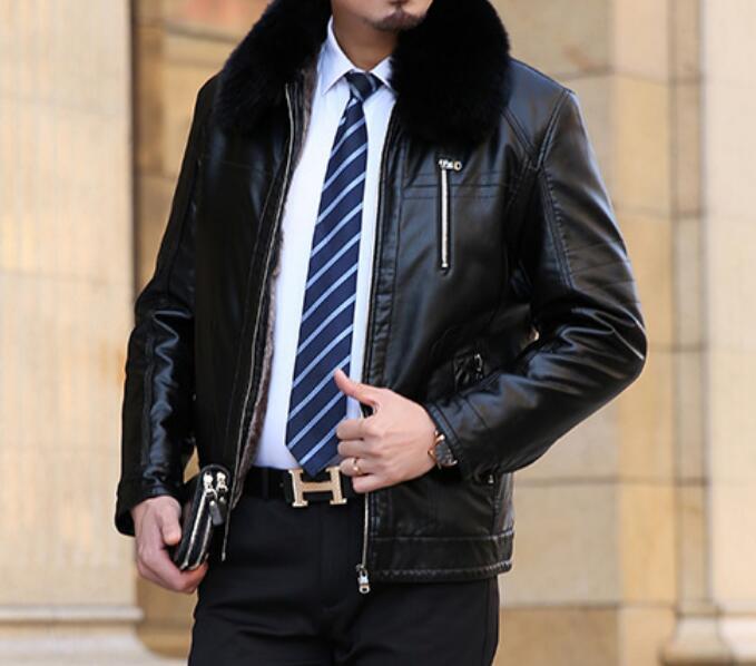 L-4XL/حار/الشتاء الرجال سترة الموضة الجديدة شخصية للإزالة كبير الفراء طوق زائد المخملية سميكة كبيرة الحجم سترة بولي يوريثان