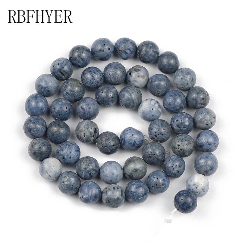 RBFHYER 6/8/10/12MM Piedra Natural azul coral, cuentas sueltas de calidad superior para fabricación de joyería DIY, pulsera, collar