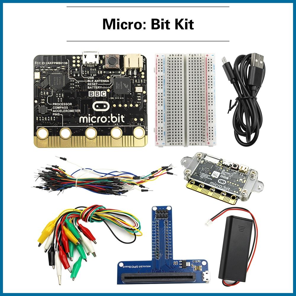 micro caixa de broca para iniciantes kit de iniciante com placa de microbit clipes