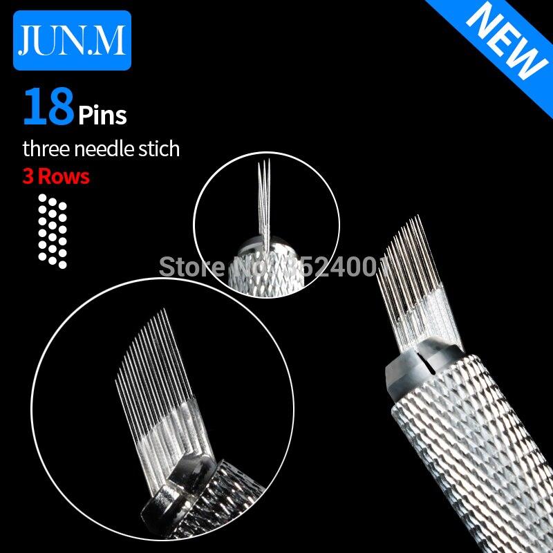 500 Uds 3 filas 18Pin aguja permanente cejas maquillaje aguja cuchillas para Microblading pluma Manual bordado