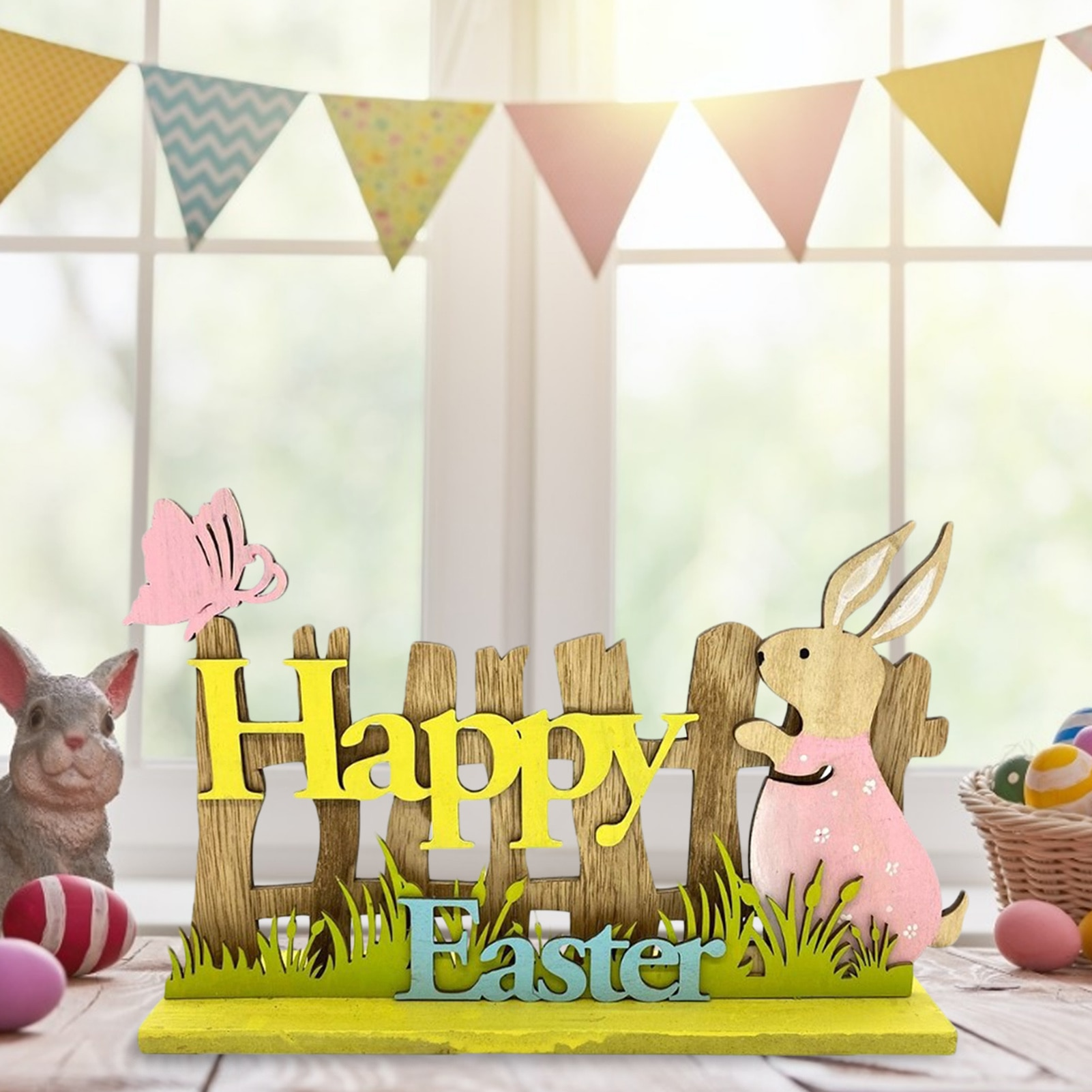 Easter Wooden Decoration Bunny Happy Easter Ornaments DIY Wood Rabbit Craft Gifts Easter Party Decor For Home 2019 sell like hot professional easter bunny mascot costumes rabbit and bugs bunny adult mascot for sale