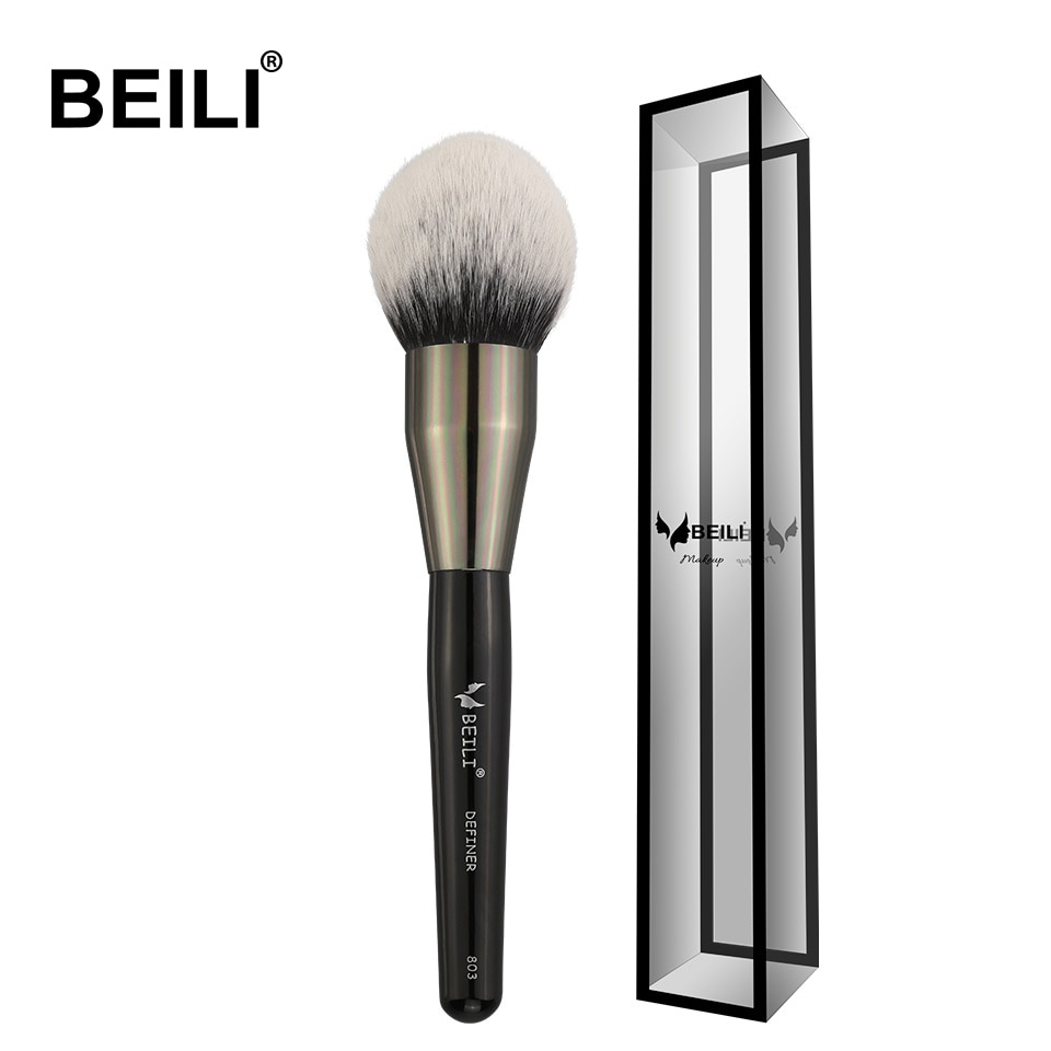 BEILI Black Big Powder Blush Definer soft Synthetic Hair Makeup Brushes Foundation Highlighter Fan Brush Eye Shadow Cruelty Free