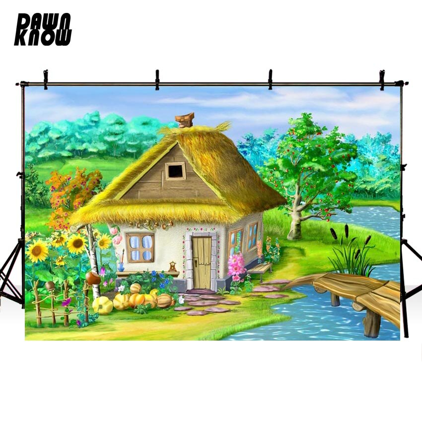 DAWNKNOW Cartoon House Vinyl Photography Background For Family River New Fabric Polyester Backdrop For Wedding Photo Studio G597