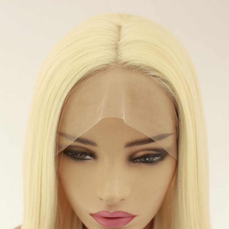 613 Light Blonde Hair 26inch Brown Lace Front Synthetic Wigs Long Silky Straight Heat Resistant Hair Pre Plucked Fashion Women  - buy with discount