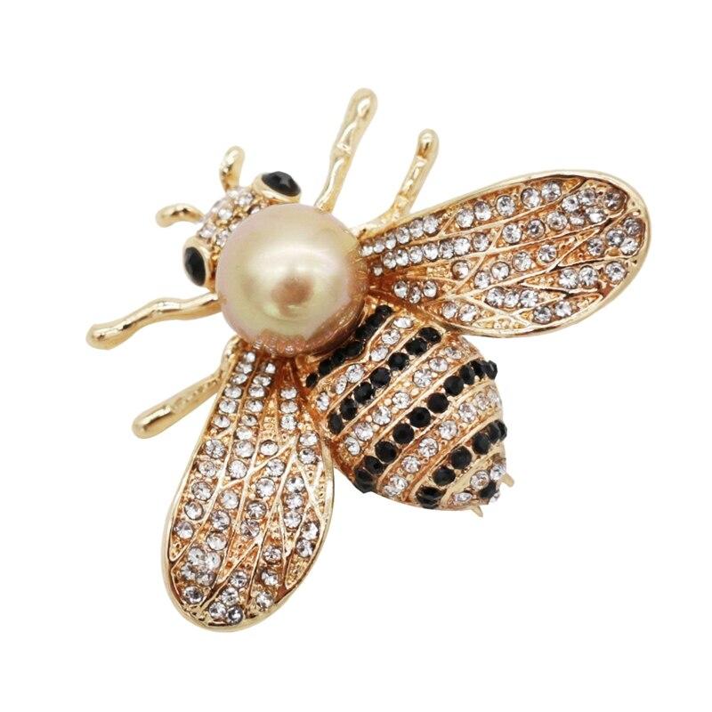 Broches de abeja de miel, broches de broche de oro y madre de perla para mujer