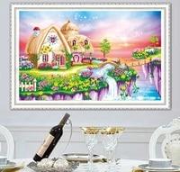 Peinture diamant paysage maison broderie 5D  bricolage  point de croix  decor  cadeau fait a la main
