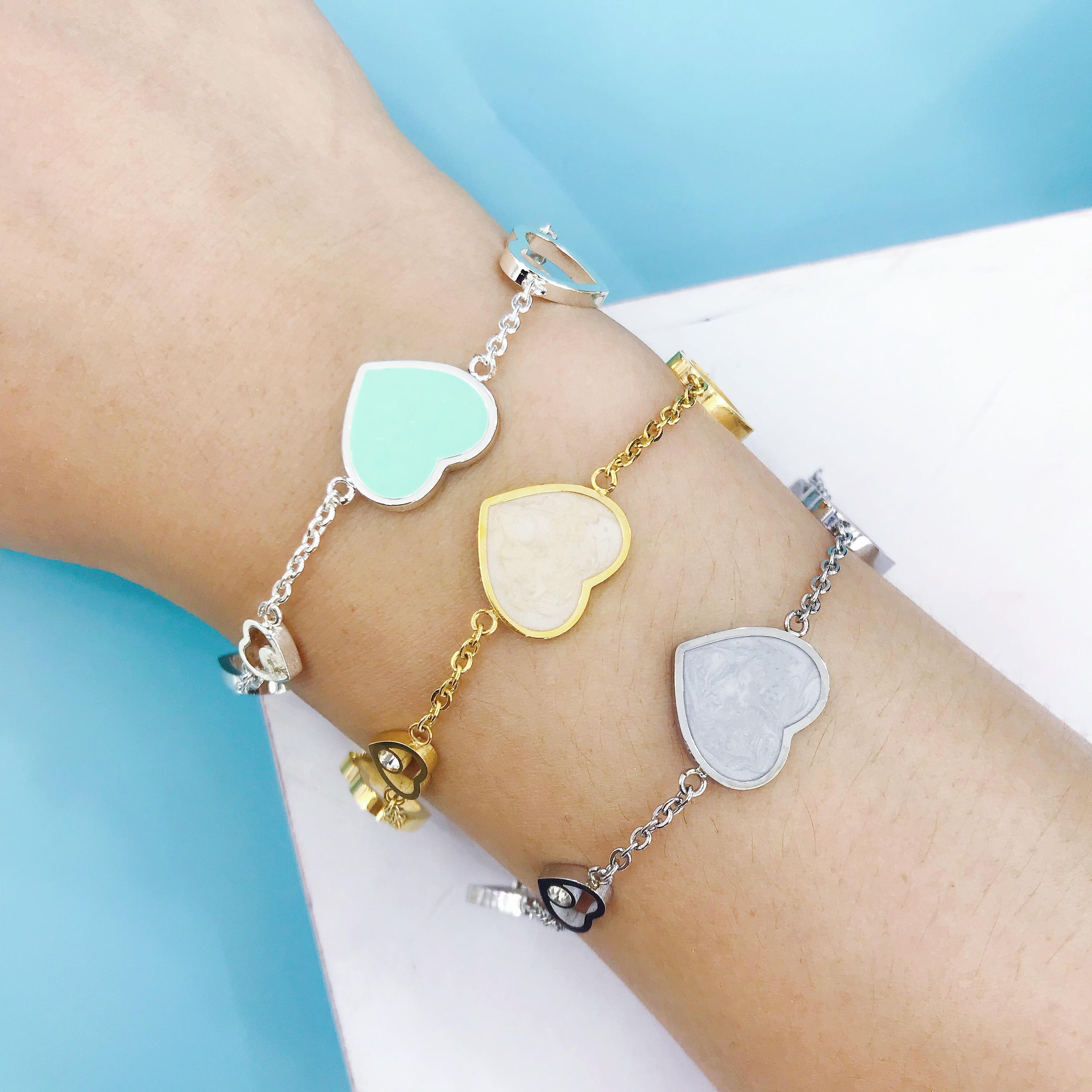 Новая модная в форме сердца кулон из золота и серебра браслет, украшение, амулет бренд браслет дизайн для женщин ювелирные украшения