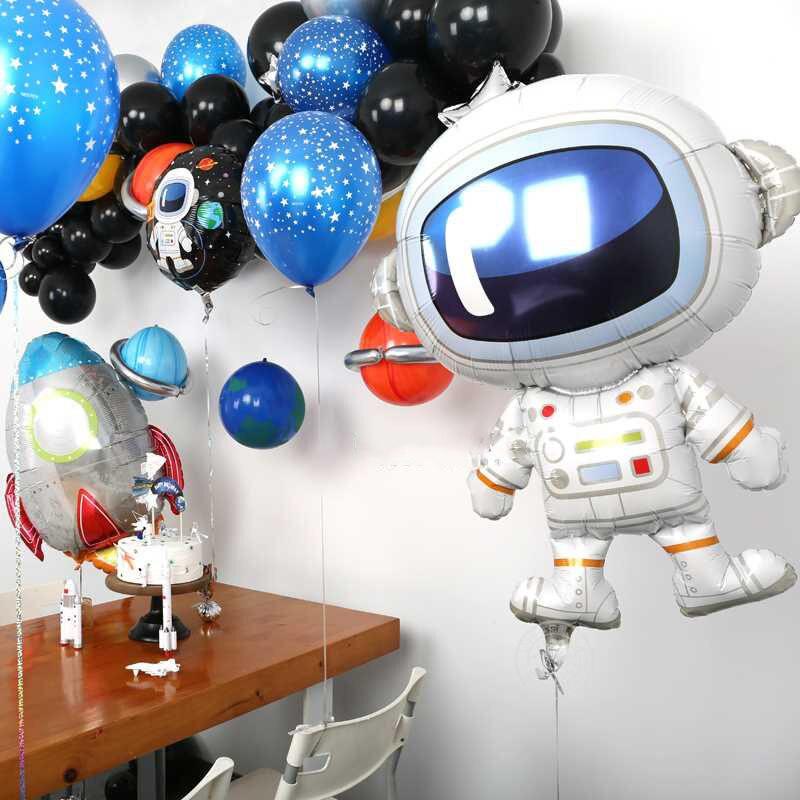 Weltraum Party Astronaut luftballons Rakete Folie Ballons Galaxy Thema Party Boy Kinder Geburtstag Party Decor Favors helium glo