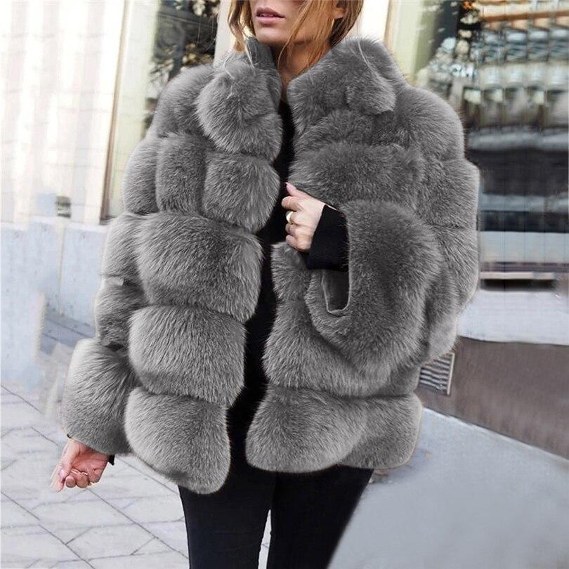 Abrigo largo de piel sintética para mujer, abrigo grueso y cálido de...
