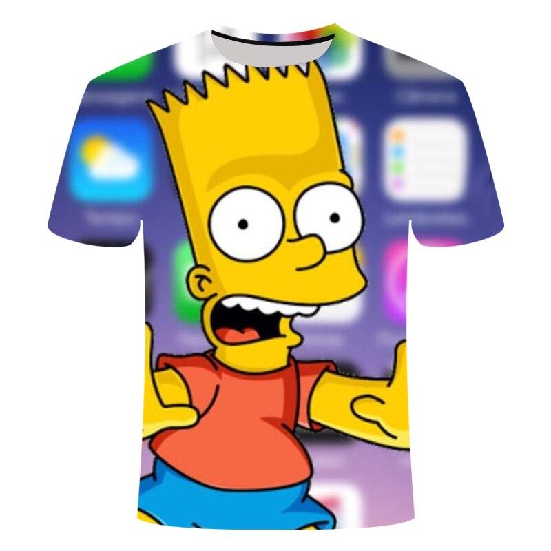 Anime T-shirt garçon/fille Simpson impression 3D T-shirt garçons décontracté Harajuku dessin animé drôle T-shirt col rond à manches courtes T-shirt