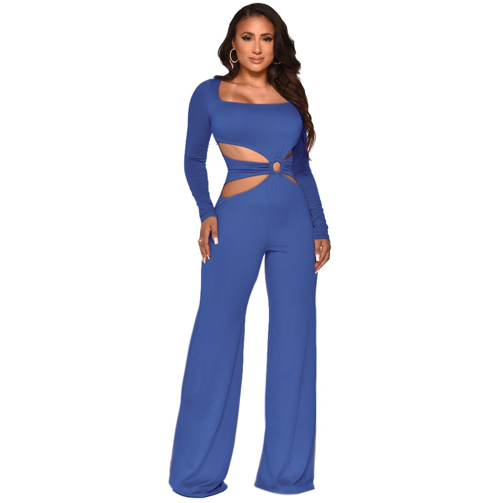 Bulk Items Wholesale Lots Solid Bodycon Rompers Womens Jumpsuit Simple Casual Full Sleeve Waist Band Cut Out Wide Leg Bodysuits enlarge
