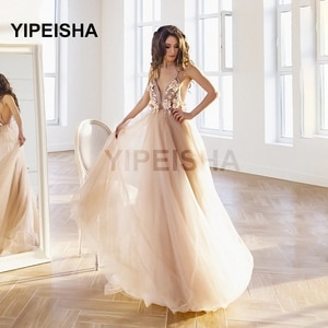 2021 Sexy Deep V-Neck 3D Flowers Evening Dress Backless A-Line Tulle Spaghetti Strap Sleeveless Prom Party Gown robes de soirée