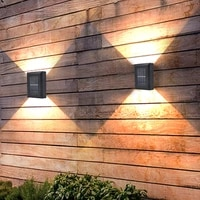 4led solar wall light black outdoor waterproof fence lamp for garden decoration outside house walkway post deck solar panel lamp