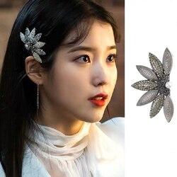 Moda coreana hotel hotel deluna iu iu feminino menina folha strass hairpin clipe de cabelo ji eun lee jóias