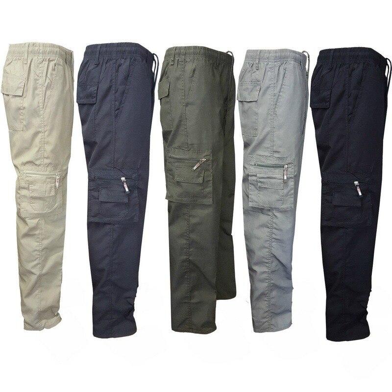 Мужские однотонные эластичные осенние брюки-карго Laamei, хлопковые брюки-карго, боевые повседневные рабочие брюки, Мужская Уличная одежда в с...