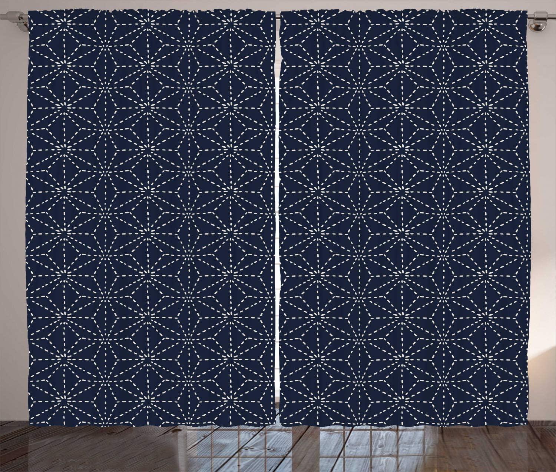 Rideaux japonais Motifs orientaux avec lignes pointues   Formes géométriques sur toile de fond bleue, rideaux de fenêtre pour salon et chambre à coucher