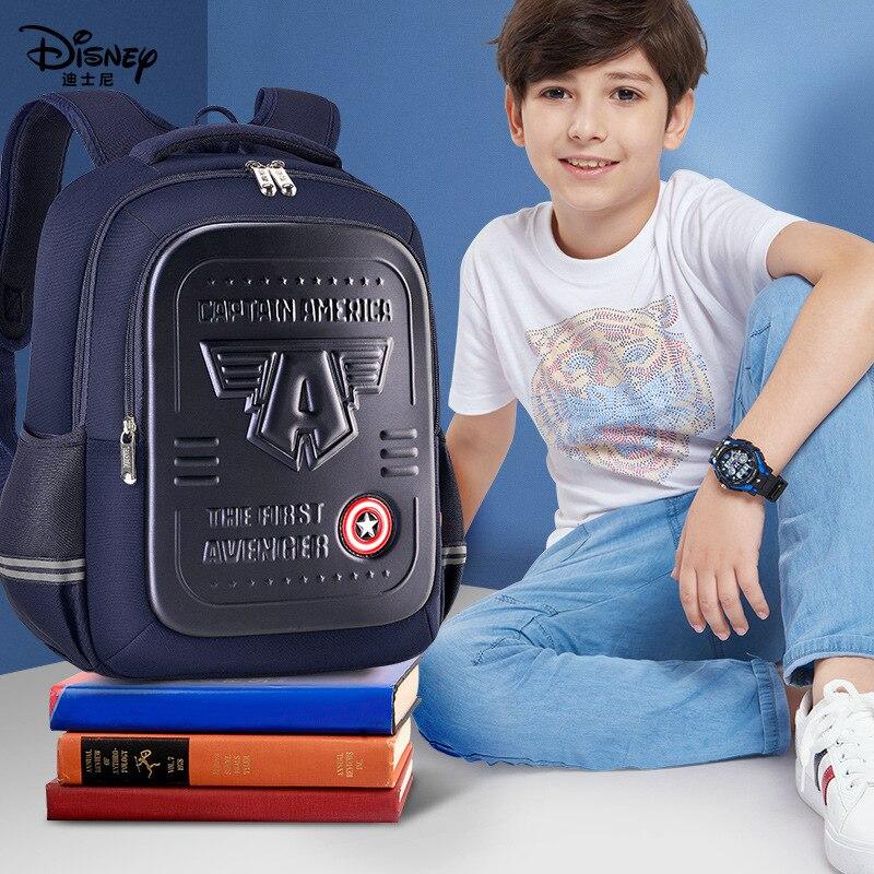Authentic Disney Iron Man Schoolbag Schoolboy Boy First Grade Child Boy Spiderman Captain America Lightweight Birthday Gift 17cm height polyresin iron man with luminous base boy s gift