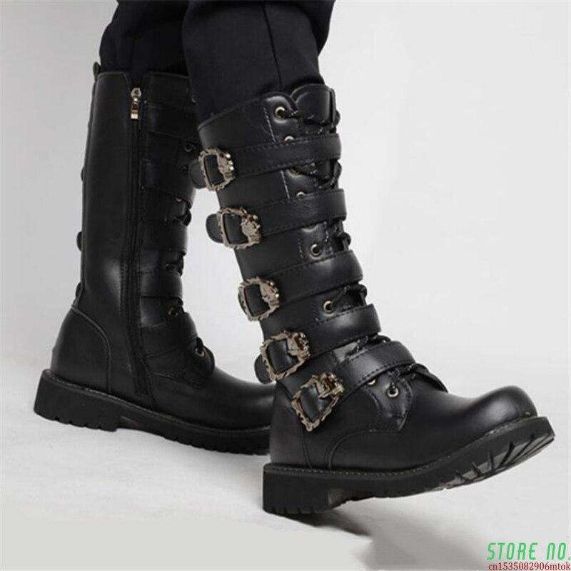 Botas de Couro da Motocicleta dos Homens Meados de Bezerro Botas de Combate Botas do Punk Bota do Exército Militar Cinto Gótico Sapatos Masculinos Tático