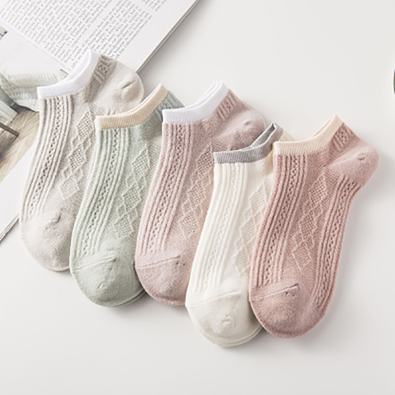 2021New Fashion Spring Women Japanese Style Double Needle Imitation Cotton Short Tube Solid Stripe Socks491430