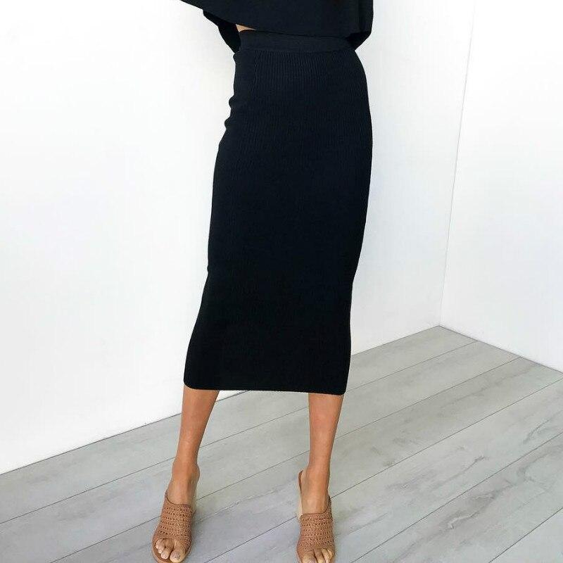 Mulher de malha saia de outono cintura alta apertado feminino elegante envoltório quadris lápis saias