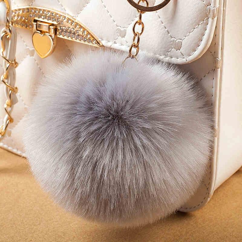 Llave sencilla Cadena de bola llavero de pompones pompón conejo artificial animal de pelo llaveros para mujer bolsa de coche llavero 13 colores