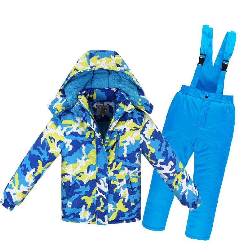 -30 Degree Russian Winter Children Boys Ski Suit Thick Warm Waterproof Windproof Snowboard Jacket Coat + Overalls Girls Snowsuit