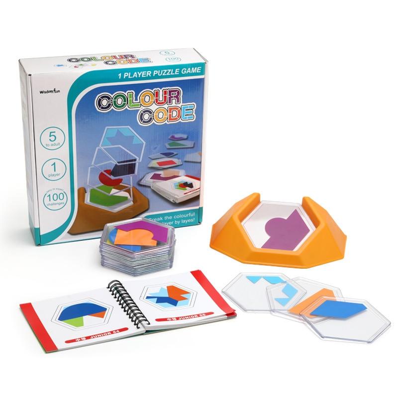 100 игра-головоломка с цветным кодом, игра-головоломка танграмма, головоломки, игрушки для детей, развивающие Логические навыки, игрушка