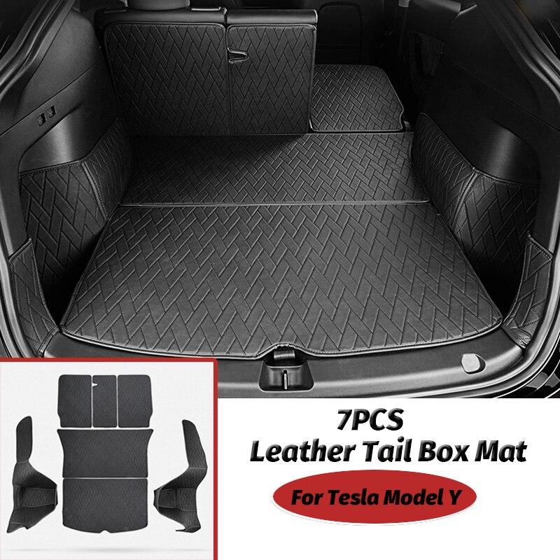 تسلا نموذج Y الجلود فرش داخلي للسيارات والشاحنات اكسسوارات شاملة الظهر وسادة صندوق 7 قطعة/المجموعة
