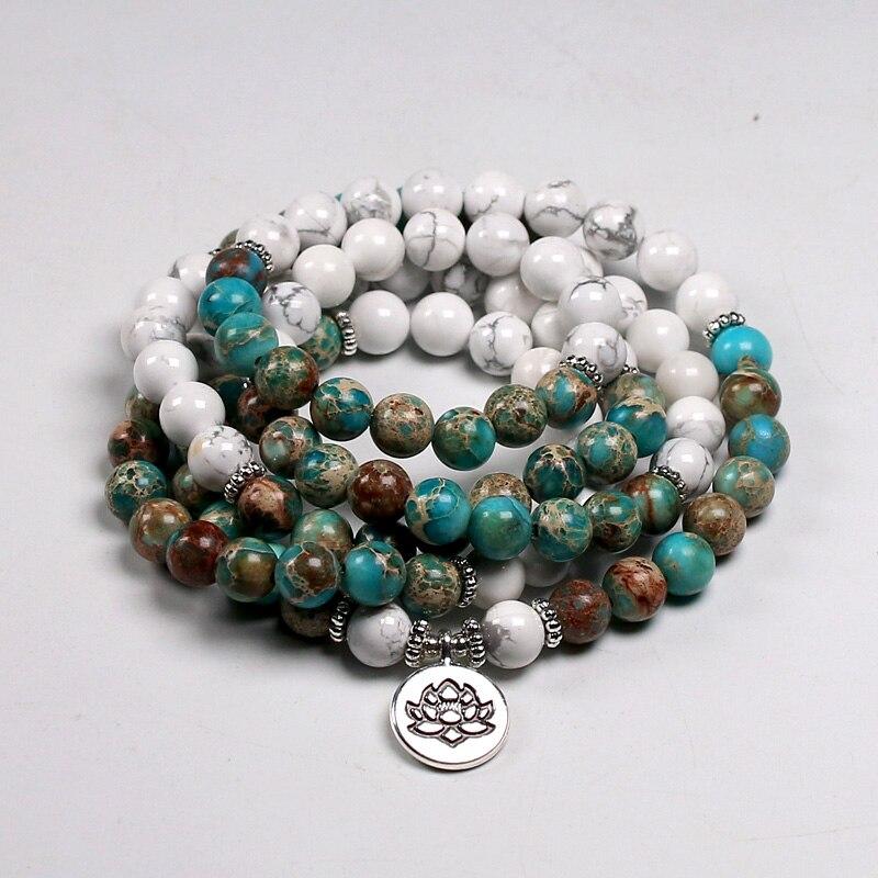 Mode 108 Mala Armbanden Natuurlijke Howliet Stone Wrap Armband Voor Vrouwen En Mannen Met Lotus Charm 8Mm
