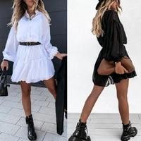 2021 summer casual temperament womens lace cardigan puff sleeve dress