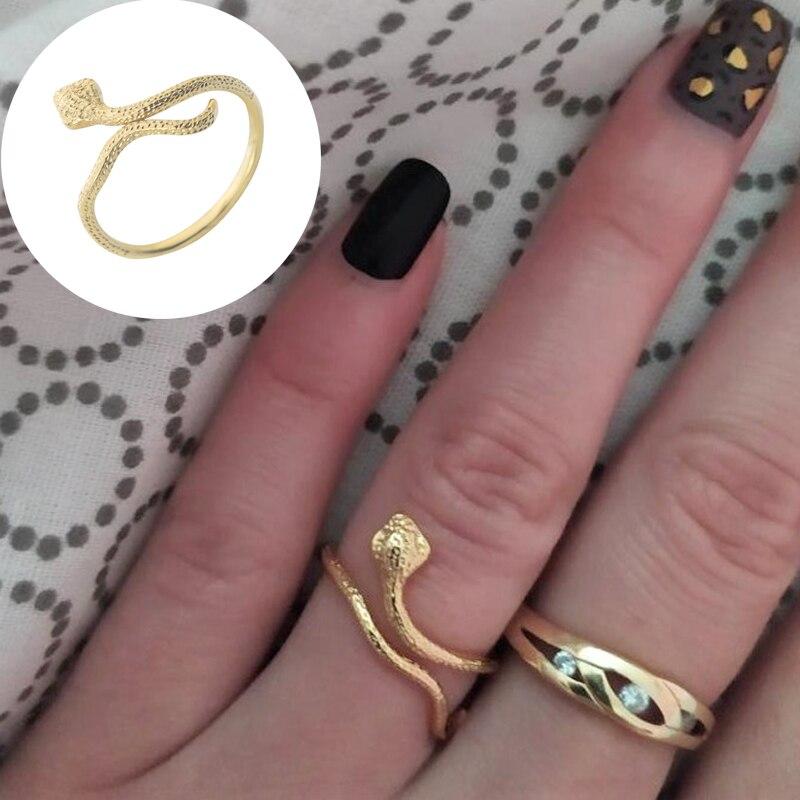 Женское кольцо в виде змеи, из нержавеющей стали, золотистого цвета, украшения для вечеринок, 2019