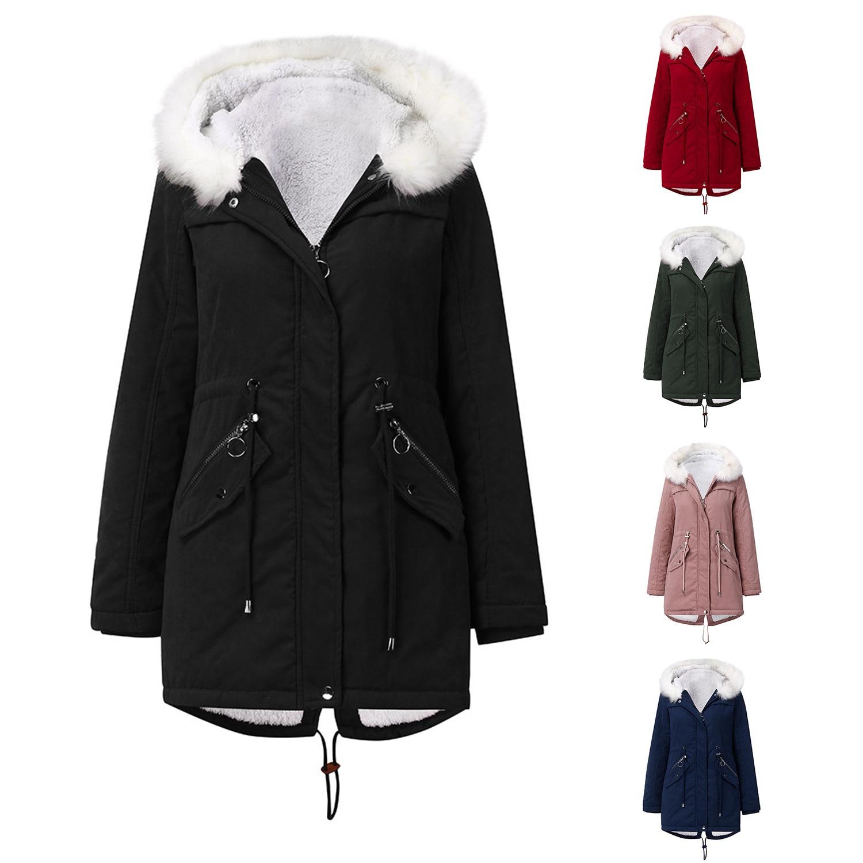 Фото - Зимняя белая парка с меховым воротником, Женское пальто средней длины с капюшоном, зимнее теплое бархатное пальто с подкладкой, европейский... пальто средней длины с капюшоном