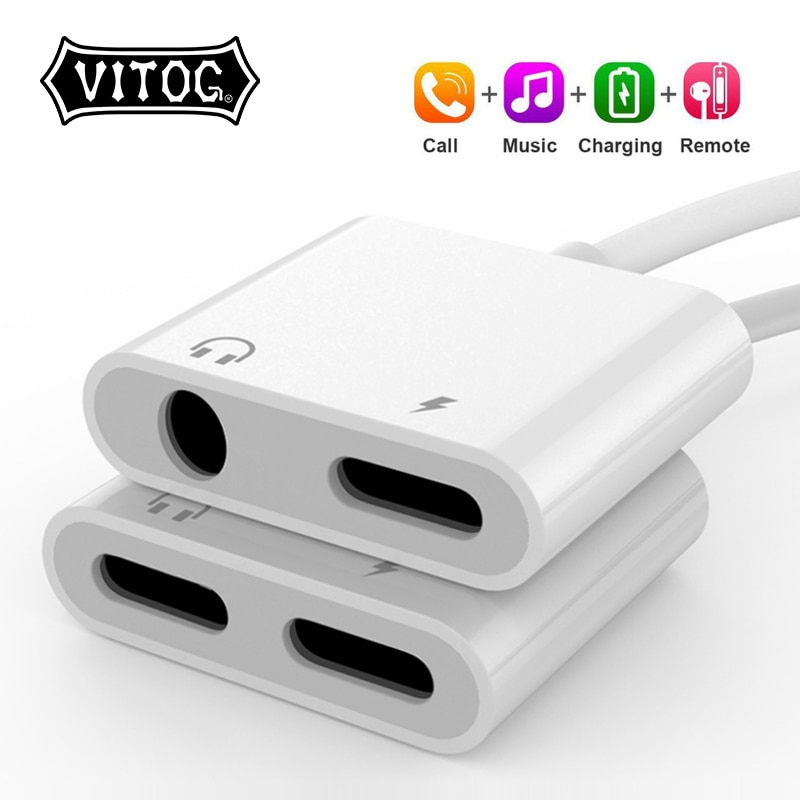 2 in 1 Adapter AUX Charging Lightning to 3.5mm Cable Splitter For Apple iPhone XS MAX XR X 7 8 Plus