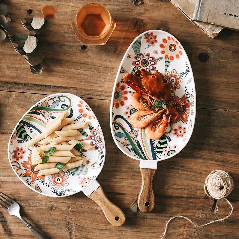 السيراميك سلطة لوحات الفاكهة ستيك ديم سوم صينية فراشة الحب زهرة اللون الصقيل ديكور المنزل نمط البيضاوي أطباق المائدة