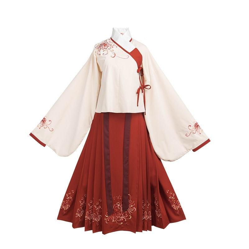 Conjuntos de roupas femininas blusa e saias tradicional hanfu hibiscus lua bordado outono primavera senhora terno conjunto para feminino