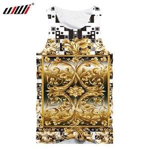 UJWI Summer New Men's 3D Gold Pattern Printing Vest Men's Sleeveless O-neck Casual Vest Man Fitness Sleeveless Top Dropship 5XL