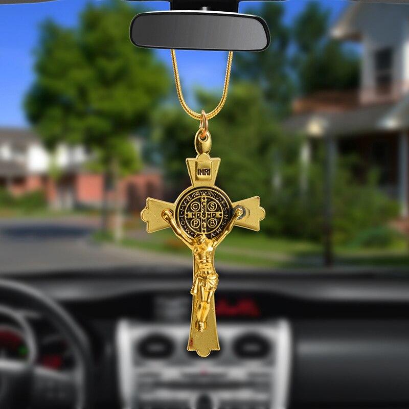 Подвеска для автомобиля из цинкового сплава, Крест Иисуса, христианская религия, Распятие Иисуса, статуэтка, подвесное украшение для автомо...