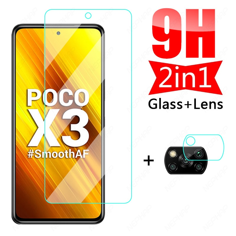 9H HD Protective Glass For Xiaomi Poco X3 NFC C3 M3 Tempered Screen Protector Xiaomi Poco X3 M2 Pro