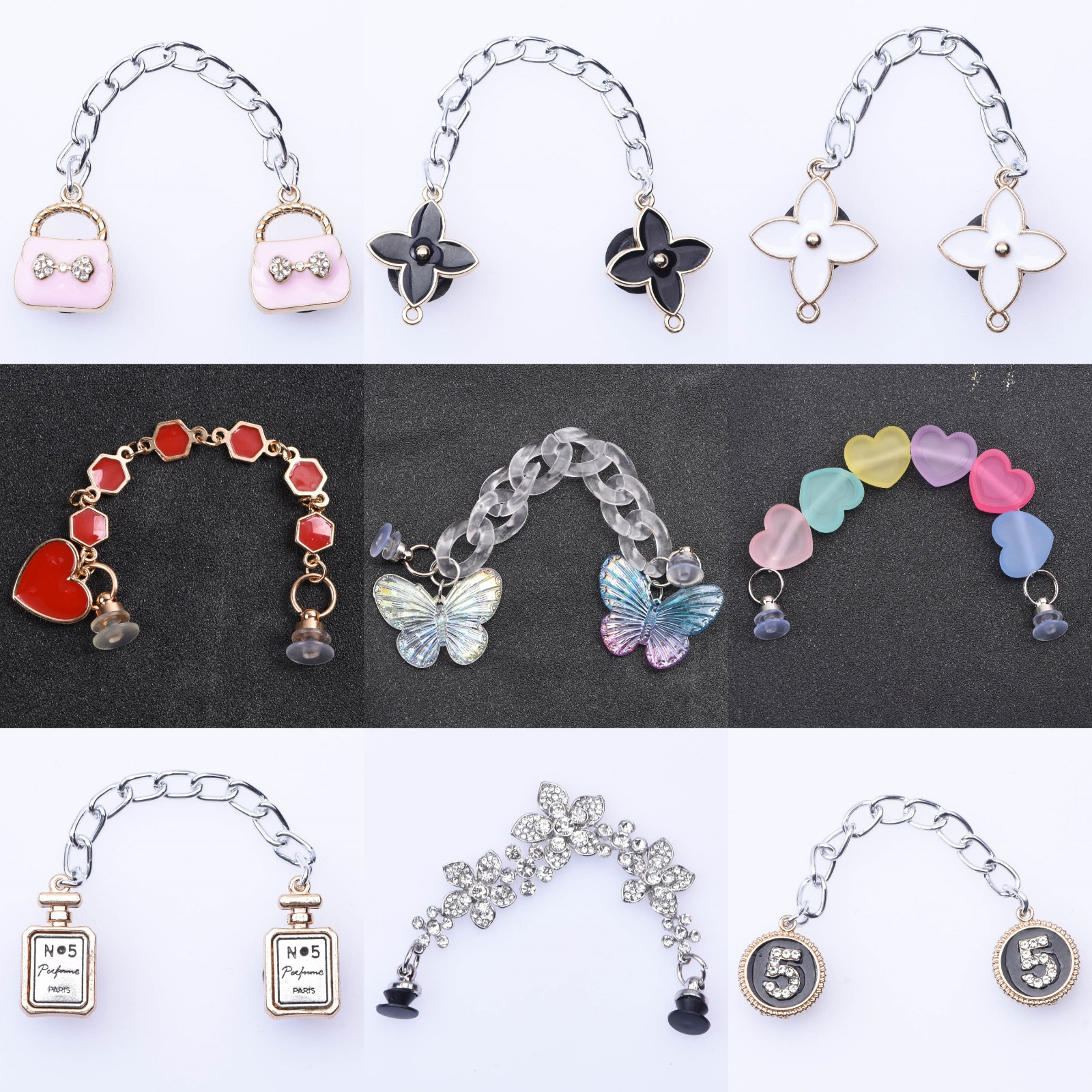 High Quanlity Metal Croc Shoes Chain Charms Light Butterfly Accessories Sugar Bling Flower Pendant Buckle Designer Decoration