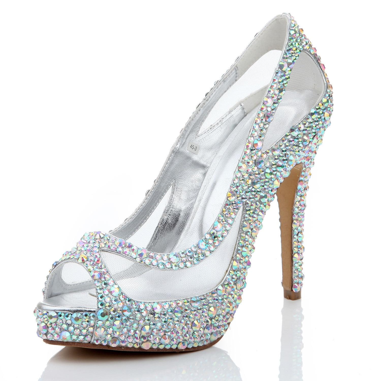 Diamond Women's Shoes Mesh Fish Mouth Thin Heel High Heels Sandals Fashion Crystal Banquet Pumps Sexy Shoes Woman Sandalias