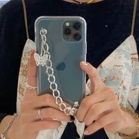 butterfly chain phone case for iphone 12 pro mini 11 6 7 8 plus x xr xs max se 2020 soft fashion bracelet clear protective cover